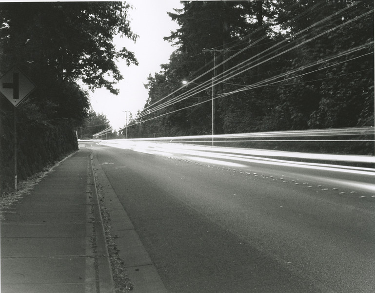 WA 202 at Night. June 8, 2009.  B&W Print, Kodak Tri-X 400