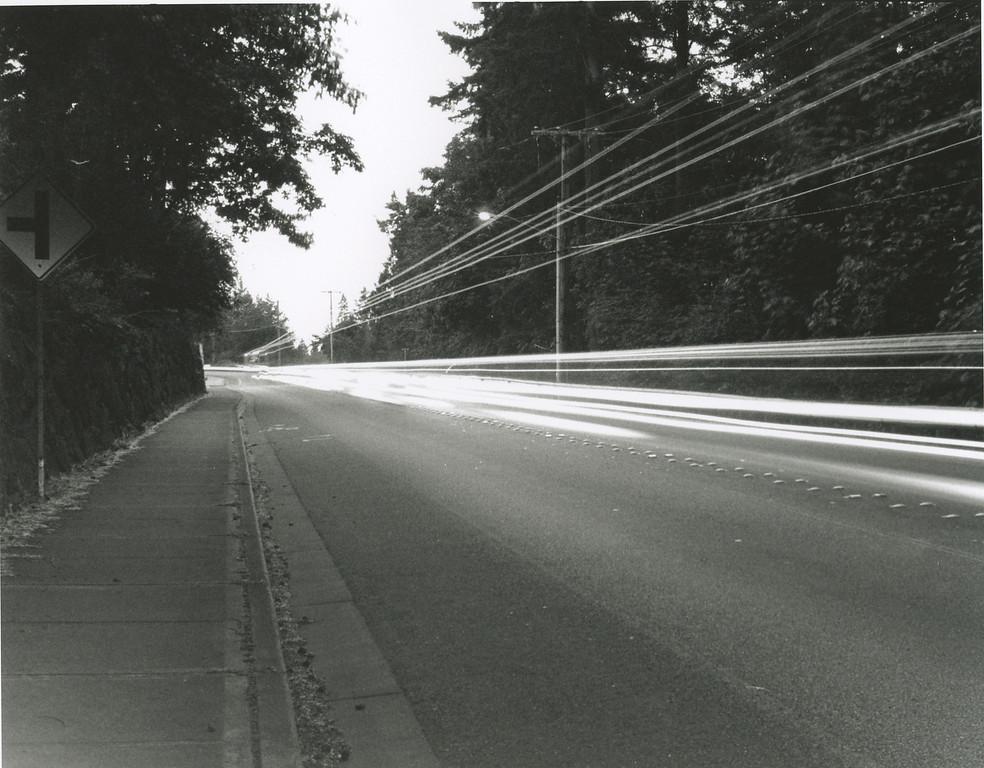 WA 202 at Night. June 8, 2009.  B&W Print, Kodak Tri-X 400