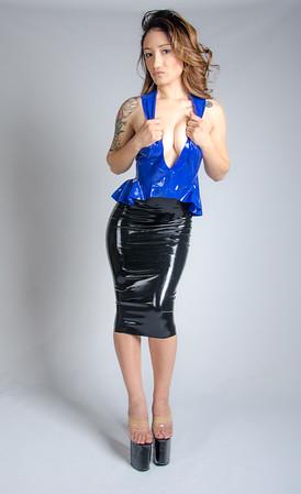 Bri rocking a hot black and blue latex dress combo