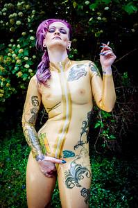 Lyric Allure sporting a transparent gummi latex catsuit