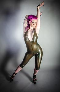 Lyrik Allure rocking a sporty latex pant suit