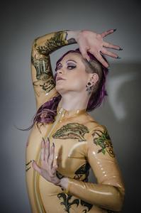 Lyrik Allure with a transparent latex catsuit