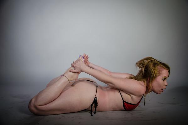 Pixi sporting a red latex bikini