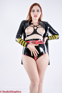 Porcelain latex halter top and captains outfit