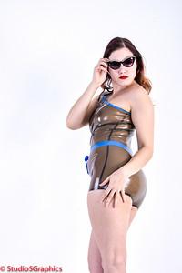 Porcelain latex one piece bathing suit bikini