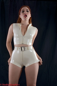Porcelain white latex jumper and booty shorts