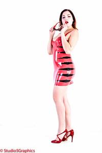Porcelain Red latex tiger dress