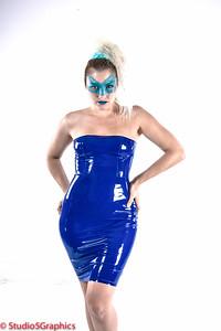 Porcelain Blue Matrix style latex dress