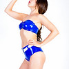 Rebel sporting a hot blue latex bikini