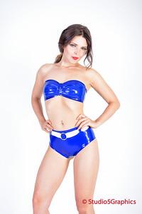 Rebel sporting a hot blue latex bikini