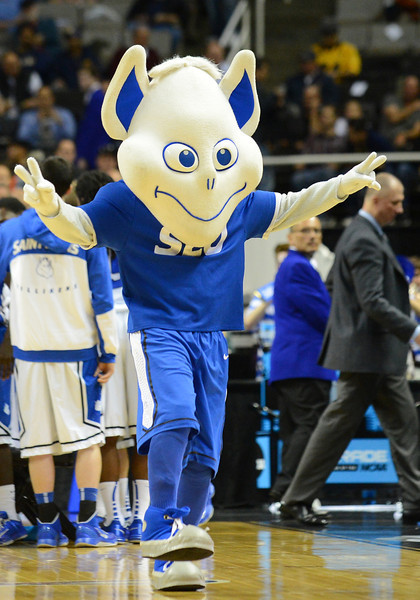 March 21, 2013: The Saint Louis Billikens mascot performs in a timeout during a game between the New Mexico State Aggies and the Saint Louis Billikens in the second round of the NCAA Division I Men's Basketball Championship at HP Pavilion in San Jose, California.