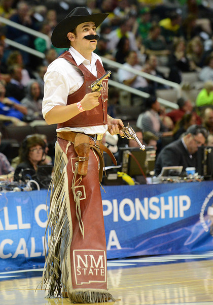 March 21, 2013: The New Mexico State Aggies mascot Pistol Pete performs in a timeout during a game between the New Mexico State Aggies and the Saint Louis Billikens in the second round of the NCAA Division I Men's Basketball Championship at HP Pavilion in San Jose, California.