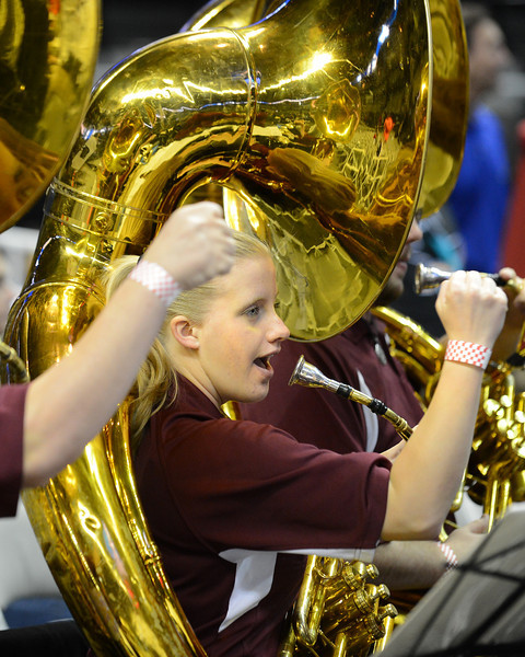 March 21, 2013: New Mexico State Aggies band members play during a game between the New Mexico State Aggies and the Saint Louis Billikens in the second round of the NCAA Division I Men's Basketball Championship at HP Pavilion in San Jose, California.