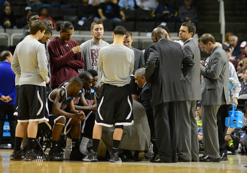 March 21, 2013: The New Mexico State Aggies huddle in a timeout during a game between the New Mexico State Aggies and the Saint Louis Billikens in the second round of the NCAA Division I Men's Basketball Championship at HP Pavilion in San Jose, California.