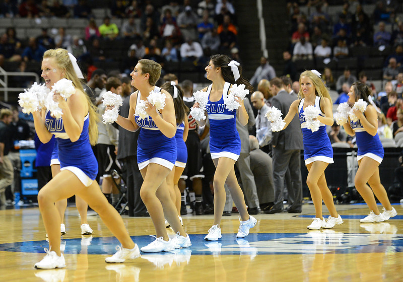 March 21, 2013: Saint Louis Billikens cheerleaders perform in a timeout during a game between the New Mexico State Aggies and the Saint Louis Billikens in the second round of the NCAA Division I Men's Basketball Championship at HP Pavilion in San Jose, California.