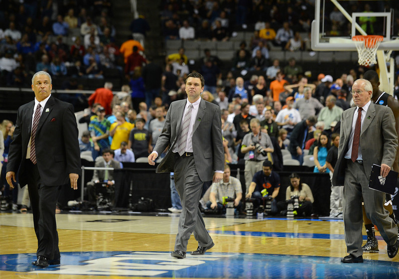 March 21, 2013: A disappointed New Mexico State Aggies coaching staff walks off the court after losing a game between the New Mexico State Aggies and the Saint Louis Billikens in the second round of the NCAA Division I Men's Basketball Championship at HP Pavilion in San Jose, California.