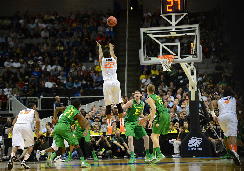 March 21, 2013: Oklahoma State Cowboys guard Markel Brown (22) shoots a three point shot during a game between the Oregon Ducks and the Oklahoma State Cowboys in the second round of the NCAA Division I Men's Basketball Championship at HP Pavilion in San Jose, California.