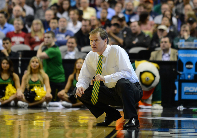 March 21, 2013: Oregon Ducks head coach Dana Altman watches the action during a game between the Oregon Ducks and the Oklahoma State Cowboys in the second round of the NCAA Division I Men's Basketball Championship at HP Pavilion in San Jose, California.