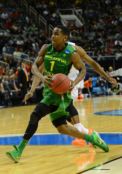 March 21, 2013: Oregon Ducks guard Dominic Artis (1) drives to the basket during a game between the Oregon Ducks and the Oklahoma State Cowboys in the second round of the NCAA Division I Men's Basketball Championship at HP Pavilion in San Jose, California.