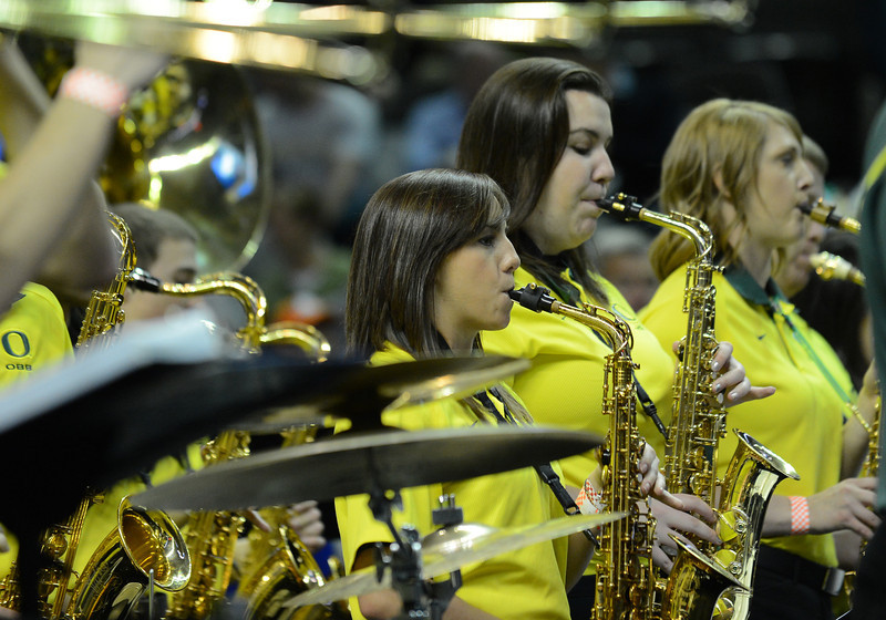 March 23, 2013: Members of the Oregon Ducks band perform during a game between the Oregon Ducks and the Saint Louis Billikens in the third round of the NCAA Division I Men's Basketball Championship at HP Pavilion in San Jose, California.