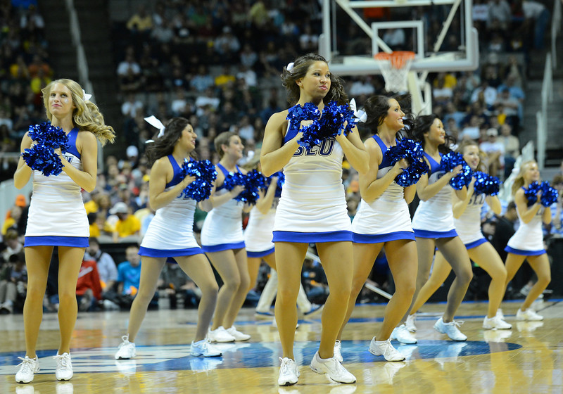 March 23, 2013: Saint Louis Billikens cheerleaders perform in a timeout during a game between the Oregon Ducks and the Saint Louis Billikens in the third round of the NCAA Division I Men's Basketball Championship at HP Pavilion in San Jose, California.