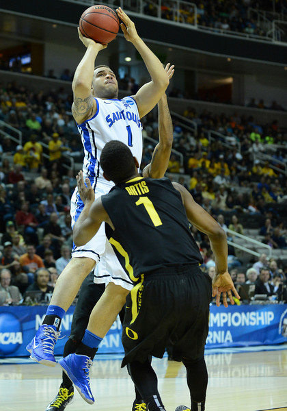 March 23, 2013: Saint Louis Billikens forward Grandy Glaze (1) puts up a shot during a game between the Oregon Ducks and the Saint Louis Billikens in the third round of the NCAA Division I Men's Basketball Championship at HP Pavilion in San Jose, California.