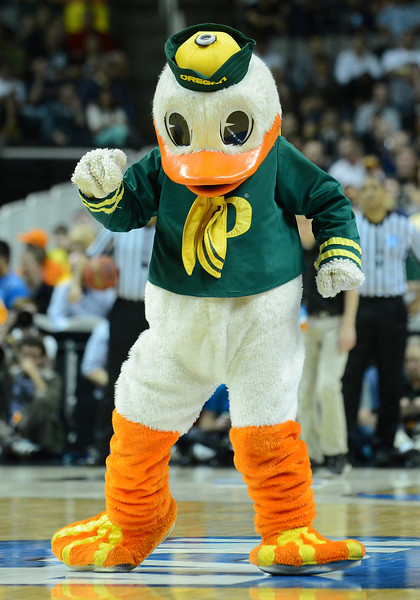 March 23, 2013: The Oregon Ducks mascot performs in a timeout during a game between the Oregon Ducks and the Saint Louis Billikens in the third round of the NCAA Division I Men's Basketball Championship at HP Pavilion in San Jose, California.