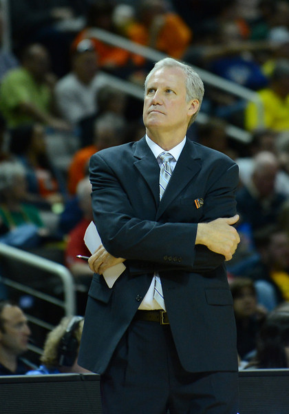 March 23, 2013: Saint Louis Billikens head coach Jim Crews looks into the crowd during a game between the Oregon Ducks and the Saint Louis Billikens in the third round of the NCAA Division I Men's Basketball Championship at HP Pavilion in San Jose, California.