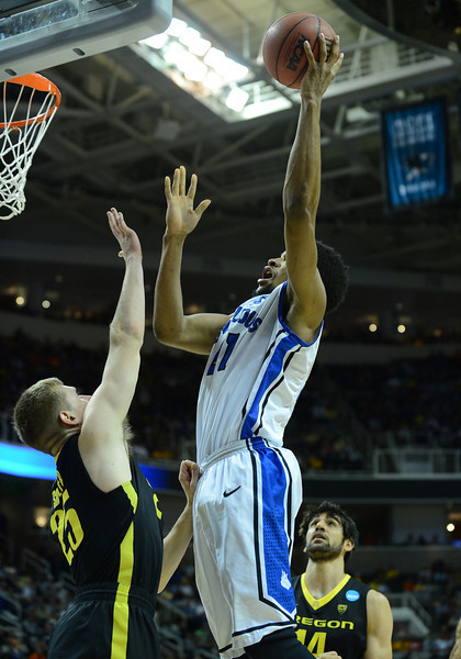 March 23, 2013: Saint Louis Billikens forward Dwayne Evans (21) puts up a shot during a game between the Oregon Ducks and the Saint Louis Billikens in the third round of the NCAA Division I Men's Basketball Championship at HP Pavilion in San Jose, California.