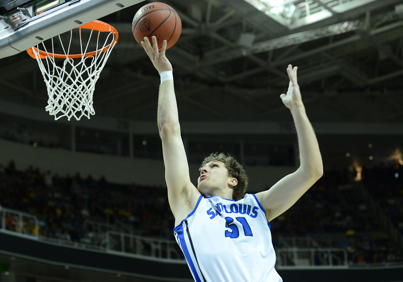 March 23, 2013: Saint Louis Billikens forward Rob Loe (51) drives in for a layup during a game between the Oregon Ducks and the Saint Louis Billikens in the third round of the NCAA Division I Men's Basketball Championship at HP Pavilion in San Jose, California.