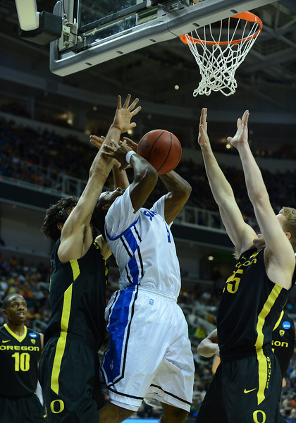 March 23, 2013: Saint Louis Billikens guard Jordair Jett (5) goes up in traffic during a game between the Oregon Ducks and the Saint Louis Billikens in the third round of the NCAA Division I Men's Basketball Championship at HP Pavilion in San Jose, California.