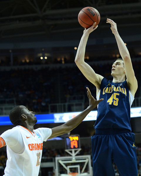 March 23, 2013: California Golden Bears forward David Kravish (45) takes a shot during a game between the Syracuse Orange and the California Golden Bears in the third round of the NCAA Division I Men's Basketball Championship at HP Pavilion in San Jose, California.