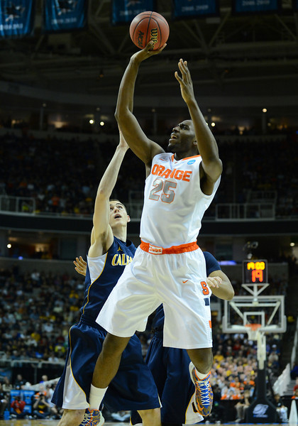 March 23, 2013: Syracuse Orange forward Rakeem Christmas (25) puts up a shot during a game between the Syracuse Orange and the California Golden Bears in the third round of the NCAA Division I Men's Basketball Championship at HP Pavilion in San Jose, California.