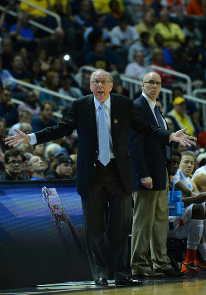 March 23, 2013: Syracuse Orange head coach Jim Boeheim questions a call during a game between the Syracuse Orange and the California Golden Bears in the third round of the NCAA Division I Men's Basketball Championship at HP Pavilion in San Jose, California.