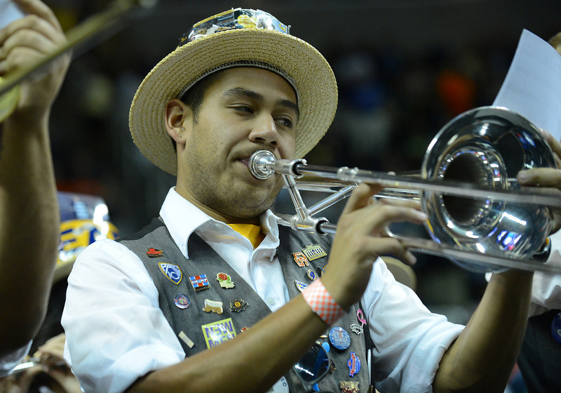 March 23, 2013: A member of the California Golden Bears band performs during a game between the Syracuse Orange and the California Golden Bears in the third round of the NCAA Division I Men's Basketball Championship at HP Pavilion in San Jose, California.