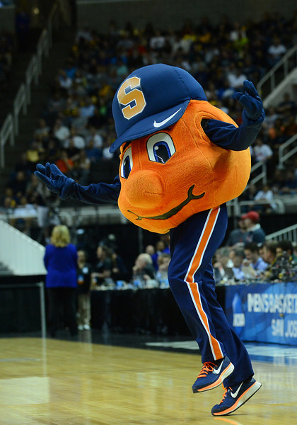 March 23, 2013: The Syracuse Orange mascot performs in a timeout during a game between the Syracuse Orange and the California Golden Bears in the third round of the NCAA Division I Men's Basketball Championship at HP Pavilion in San Jose, California.