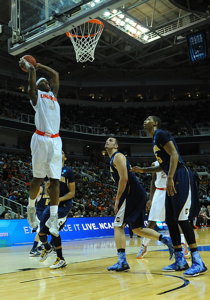 March 23, 2013: Syracuse Orange forward C.J. Fair (5) goes up for a dunk during a game between the Syracuse Orange and the California Golden Bears in the third round of the NCAA Division I Men's Basketball Championship at HP Pavilion in San Jose, California.