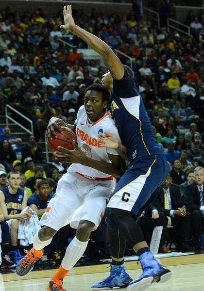 March 23, 2013: Syracuse Orange forward Jerami Grant (3) drives the baseline during a game between the Syracuse Orange and the California Golden Bears in the third round of the NCAA Division I Men's Basketball Championship at HP Pavilion in San Jose, California.