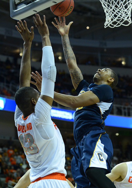 March 23, 2013: California Golden Bears forward Richard Solomon (35) puts up a shot during a game between the Syracuse Orange and the California Golden Bears in the third round of the NCAA Division I Men's Basketball Championship at HP Pavilion in San Jose, California.