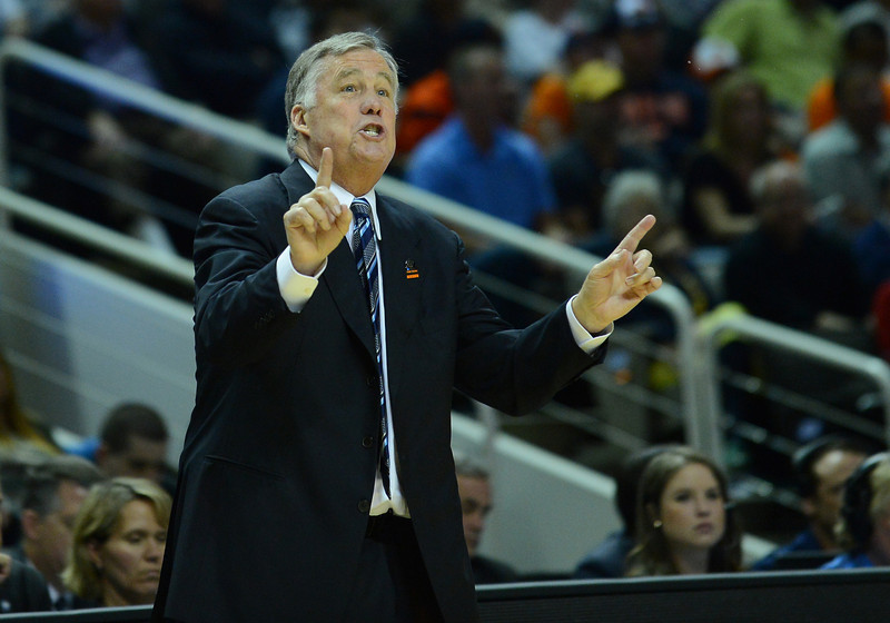 March 23, 2013: California Golden Bears head coach Mike Montgomery gives instruction to his team during a game between the Syracuse Orange and the California Golden Bears in the third round of the NCAA Division I Men's Basketball Championship at HP Pavilion in San Jose, California.