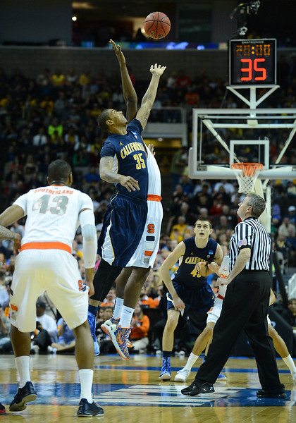 March 23, 2013: California Golden Bears forward Richard Solomon (35) jumps for the tipoff during a game between the Syracuse Orange and the California Golden Bears in the third round of the NCAA Division I Men's Basketball Championship at HP Pavilion in San Jose, California.