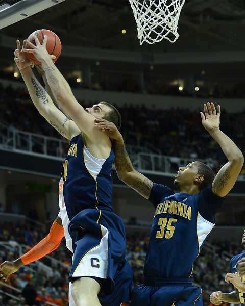 March 23, 2013: California Golden Bears forward Robert Thurman (34) grabs a rebound during a game between the Syracuse Orange and the California Golden Bears in the third round of the NCAA Division I Men's Basketball Championship at HP Pavilion in San Jose, California.