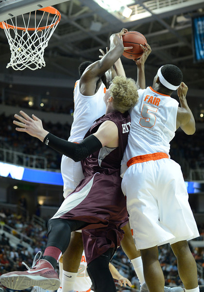 March 21, 2013: Syracuse Orange forward C.J. Fair (5) battles for a rebound during a game between the Syracuse Orangemen and the Montana Grizzlies in the second round of the NCAA Division I Men's Basketball Championship at HP Pavilion in San Jose, California.
