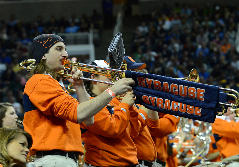 March 21, 2013: The Syracuse Orange band performs in a timeout during a game between the Syracuse Orangemen and the Montana Grizzlies in the second round of the NCAA Division I Men's Basketball Championship at HP Pavilion in San Jose, California.