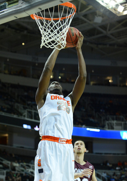 March 21, 2013: Syracuse Orange forward Rakeem Christmas (25) goes up for a dunk during a game between the Syracuse Orangemen and the Montana Grizzlies in the second round of the NCAA Division I Men's Basketball Championship at HP Pavilion in San Jose, California.