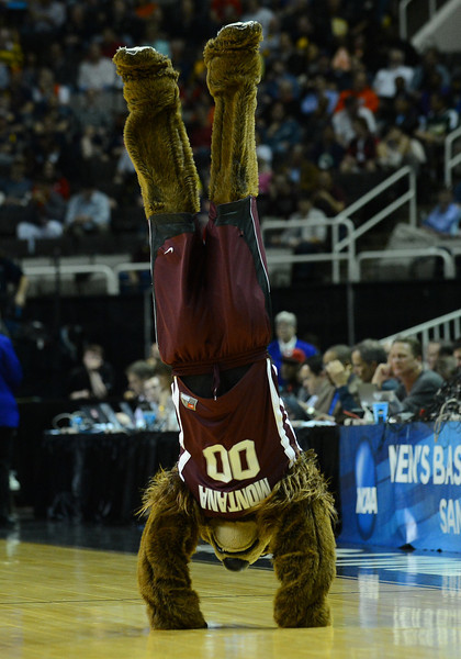 March 21, 2013: The Montana Grizzlies mascot performs in a timeout during a game between the Syracuse Orangemen and the Montana Grizzlies in the second round of the NCAA Division I Men's Basketball Championship at HP Pavilion in San Jose, California.