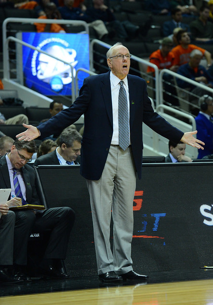 March 21, 2013: Syracuse Orange head coach Jim Boeheim reacts to a call during a game between the Syracuse Orangemen and the Montana Grizzlies in the second round of the NCAA Division I Men's Basketball Championship at HP Pavilion in San Jose, California.