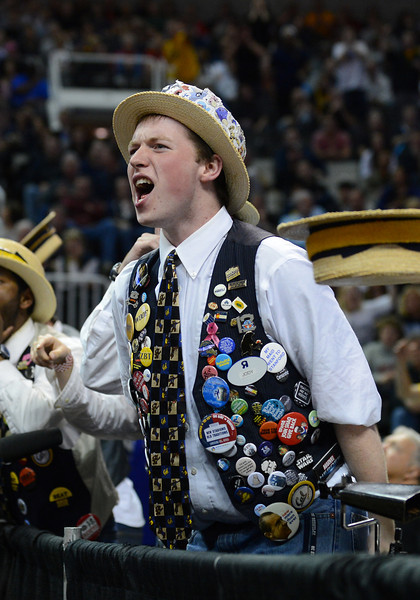 March 21, 2013: Members of the California Golden Bears band react to a call during a game between the UNLV Rebels and the Cal Golden Bears in the second round of the NCAA Division I Men's Basketball Championship at HP Pavilion in San Jose, California.