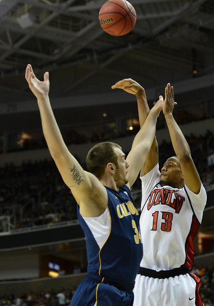 March 21, 2013: UNLV Rebels guard Bryce Dejean-Jones (13) takes a shot during a game between the UNLV Rebels and the Cal Golden Bears in the second round of the NCAA Division I Men's Basketball Championship at HP Pavilion in San Jose, California.