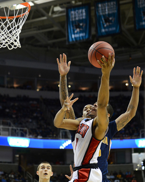 March 21, 2013: UNLV Rebels guard Anthony Marshall (3) goes up for a layup attempt during a game between the UNLV Rebels and the Cal Golden Bears in the second round of the NCAA Division I Men's Basketball Championship at HP Pavilion in San Jose, California.